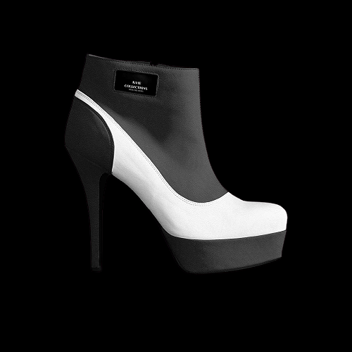 Designer Black & White Platform Heels